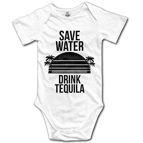 AZXGGV Save Water Drink Tequila Unisex Funny Toddler Romper Baby Girl Vest White 6M -