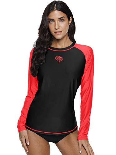 (Womens Rash Guard Long Sleeve Swim Shirt Splice Surf Shirt Swimsuit Top Rashguard Black M)