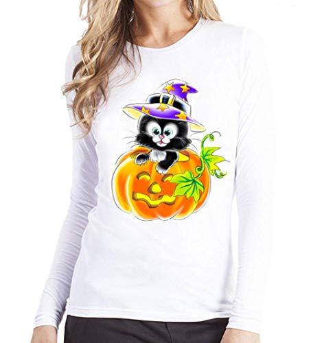 [XS-2XL] レディース Tシャツ ハロウィン ラウンドネック 黒い猫プリント 長袖 トップス おしゃれ ゆったり カジュアル 人気 高品質 快適 薄手 ホット製品 普段着 ナイトクラブ ビーチ パーティー 通勤 通学