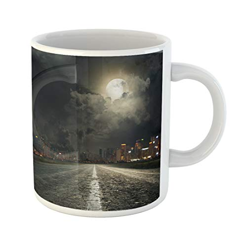 Emvency Funny Coffee Mug Street Asphalt Road Leading Into the City at Night Dark Urban Cityscape Moon 11 Oz Ceramic Coffee Mug Tea Cup Best Gift Or Souvenir -