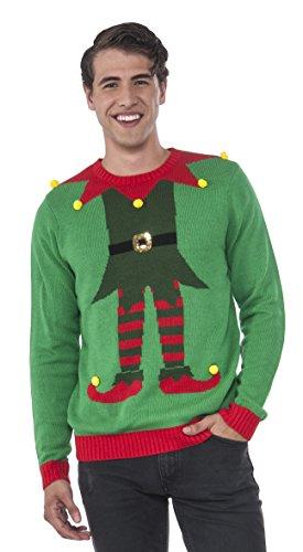 Rubie's Men's Green Elf Ugly Christmas Sweater, Multi, Large