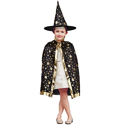 Girls Wizard Costumes (TOPQSC Cape ,Halloween Hooded Cape Halloween Stars Cloak Witch Wizard Set Five Star Cape Costumes with Hat Unisex Kid Coat Gown Robe for Christmas and Cosplay Party Dress Up(Black))