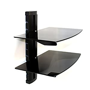 Maison & White Tempered  Glass Floating Shelf Wall Mount For Consoles/DVD players/TV Accessories M&W 2 Tier – Great,Neat & Tidy