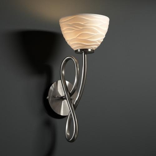 Justice Design POR-8911-35-LEAF-MBLK Capellini One Light Wall Sconce, Impression Option: Leaves Shade Impression, Choose Finish: Matte Black Finish, Choose Lamping Option: Standard Lamping - Capellini Matte