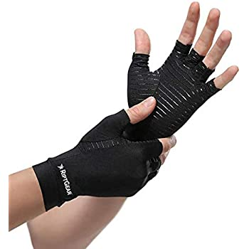 RiptGear Compression Gloves for Women and Men - Copper Infused Glove for Rheumatoid Arthritis Osteoarthritis Carpal Tunnel Raynauds Disease - Hand Pain Relief and Support - Open Finger Pair (Medium)