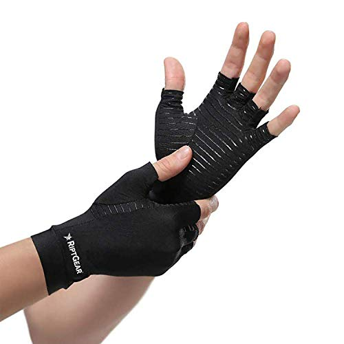 RiptGear Compression Gloves for Women and Men - Copper Infused Glove for Rheumatoid Arthritis Osteoarthritis Carpal Tunnel Raynauds Disease - Hand Pain Relief and Support - Open Finger Pair (XLarge)