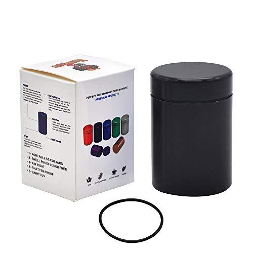 Stash Jar - Airtight Smell Proof Durable Multi-Use Portable Metal Herb Jar Container. Waterproof Aluminum Screw-top Lid Lock Odor -Black