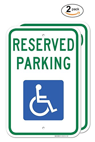 ((2PACK) Handicap Parking Sign - With Picture Of Wheelchair Federal 12