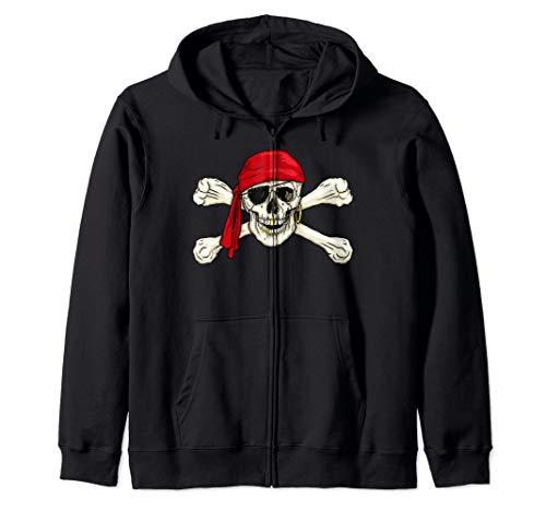 (Pirate Skull & Crossbones Pirate Flag Jolly Roger Zip Hoodie)