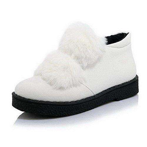 Blandingsmaterialer Faste sko on Hvit Lave Lukket Hæler Rundt Pumper Tå pull Voguezone009 F zq4Rt
