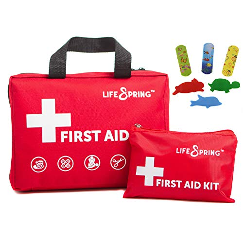 - First Aid Kit for Happy Kids - 164 Piece Fully Stocked Emergency Kit Plus Kid Supplies, Bonus Mini Kit, CPR Mask, and Ice Pack for Home, Car, Childcare, Sports, Hiking, Camping ~ 37 Unique Items