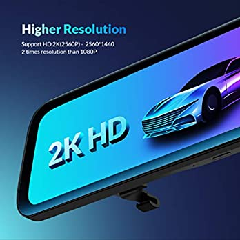 "Backup Camera Car Mirror Dash Cam,12"" IPS Full Touch Screen,2560P+1080P Resolution Front and Rear View Dual Lens,32G TF Card Included"