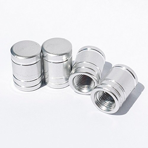 Tire Stem Valve Caps Cover Round Shape (Set of 4pcs) Aluminum with Gasket Rubber Rings Universal fit for All cars and Bike (Chrome)