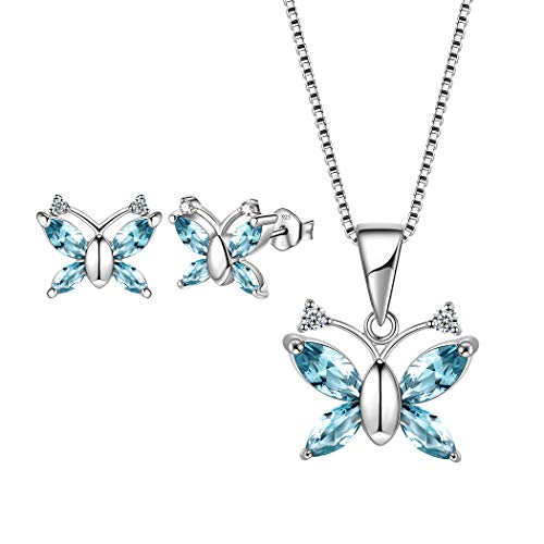 Aurora Tears 925 Sterling Silver Butterfly Jewelry Set London Blue Crystal Pendant Necklace Stud Earrings for Women Girls DS0037B ()
