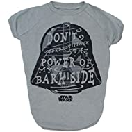 Star Wars for Pets Don't Underestimate The Power of My Bark Side Dog Tee | Star Wars Dog Shirt | XX-Large, Gray