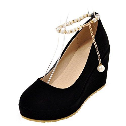 ENMAYER Womens Wildleder Pearls Ceinture à Cheville Wedge Talons Hauts Round Toe Platform Pompes Casual Shoes Schwarz#42