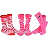 TeeHee Valentine's Day Love Women's Crew Socks 3-Pack (Pink Heart)