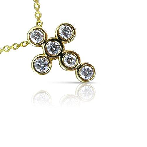 Milano Jewelers .30CT ROUND DIAMOND 14KT YELLOW GOLD BEZEL FLOATING CROSS PENDANT #15998 ()