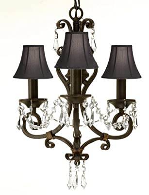 Wrought Iron Crystal Chandelier Lighting Chandelier With Black Shades!