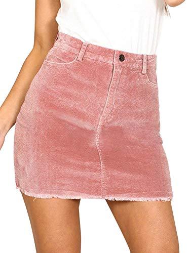 BerryGo Women's Casual High Waist Corduroy A-Line Pencil Mini Skirt Pink,M