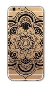 iPhone 6 / 6S Case DECO FAIRY Mandala Creative Design and Art Protective Case Bumper(Scratch-Resistant) Ultra Slim Translucent Silicone Clear Case Gel Cover for Apple (Open Black Flower)