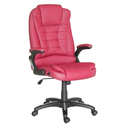 Veelar Pioneer Executive Office Gaming Chair PU Leather Desk Chair, High Back Ergonomic Chair, Swivel Executive Computer Chair Reclining Back (Burgundy Red) - Swivel Burgundy Task Chair