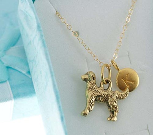 - Necklace. Golden Retriever Charm Necklace Pendant in Antique Gold Plated Pewter and personalized with a gold plated bronze initial charm.