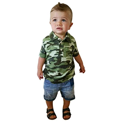 Price comparison product image FEITONG Toddler Kids Baby Boy Camouflage T Shirt Tops+ Demin Pants (2Years, Camouflage)