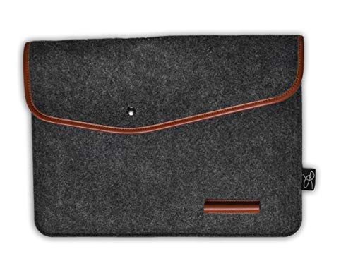 Valier Laptop Sleeve - Protective Case for 12.3 inch Google Pixelbook - Perfect for Your Laptop and Accessories - Features 2 Pen Clips, 4 Pockets for Laptop, Notebook, Wallet, Phone. (Black)