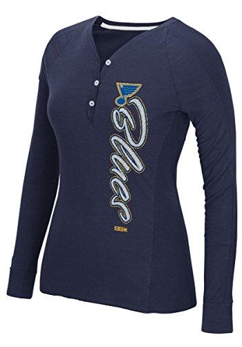 Reebok St. Louis Blues Women's NHL CCM Verticality Long Sleeve Henley Shirt