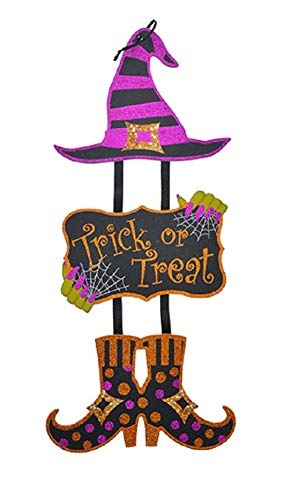 A&T Designs Trick or Treat Witch Glitter Dangling Halloween Party Decoration Wall Art Sign - Stylish Festive