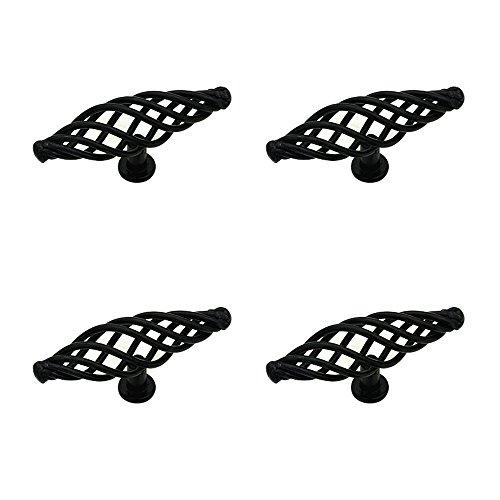 Black Birdcage (Floomsun Black Retro Birdcage Cabinet Hardware Knobs, Door Drawer Pull Handle, 4 pack)