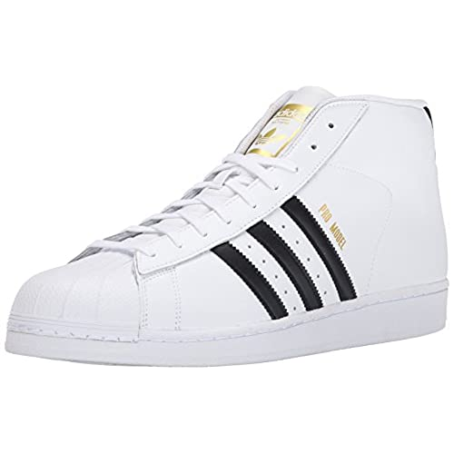adidas Originals Men's Pro Model Fashion Sneaker, White/Black/White, 9.5 M  US