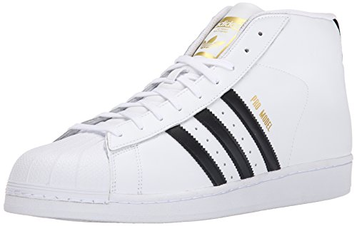 adidas Originals Men's Pro Model Fashion Sneaker, White/Black/White, 9 M US