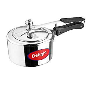 Delight Aluminium ISI Marked, Non-Induction Pressure Cooker with Inner Lid (3 L, Silver)