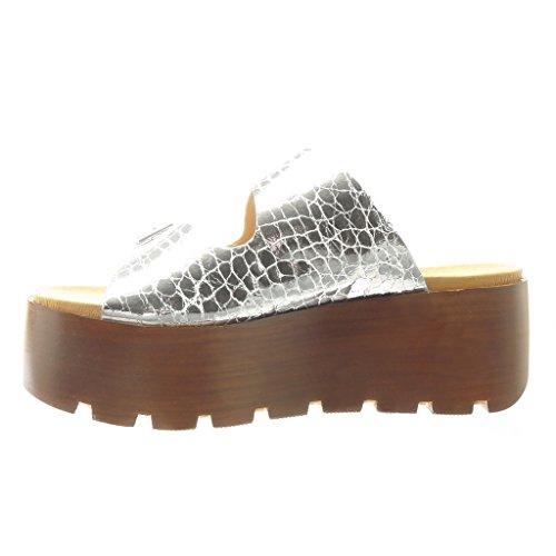 Plateforme Argent Bois 7 Compensé Plateforme Boucle Talon Angkorly Femme Sandale cm Sabot Mode Lanière Chaussure wTIUgA