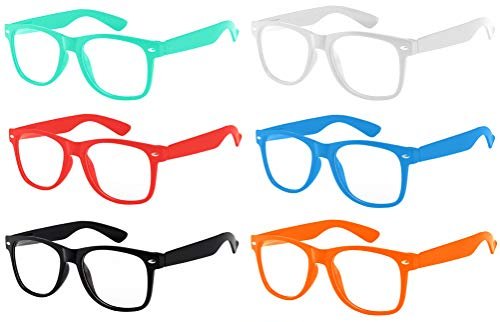 Retro Style 6 Pack Vintage Sunglasses Colored Frame Clear Lens ()