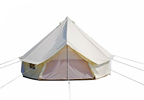 DANCHEL Four-Season Waterproof Bell Tent for Glamping, 10ft Dia. Color White Cream