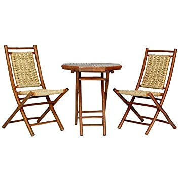 Heather Ann Creations The Kauai Collection Contemporary Style Bamboo Wooden 3-Piece Table and Chairs Outdoor Patio Bistro Dining Set, Brown