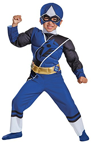 Power Ranger Outfit (UHC Boy's Blue Power Ranger Muscle Outfit Movie Theme Toddler Child Costume, Toddler M (3-4T))