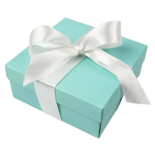 AerWo 10pcs Party Wedding Favors Bag + 10pcs Silk Ribbon, Mini Large Square Turquoise Candy Box with Lids for Wedding Supply, Birthdays, Bridal and Baby Showers (Aqua Blue) Tiffany Gift Box