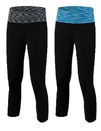 Shimmery Women's 2 Pack Activewear Yoga Pants High Rise Workout Gym Tight Capri Leggings