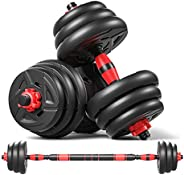 40KG/88Lbs Adjustable Weights Dumbbells Set,Fitness Home Gym for Men and Women,2 in 1 Strength Training Barbel