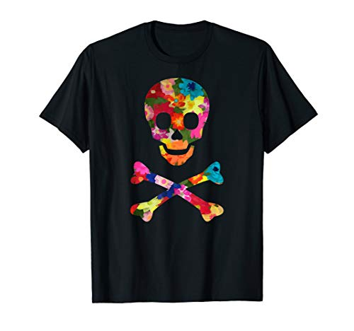 (Flowered Skull And Crossbones Funky Jolly Roger Pirate T-Shirt)
