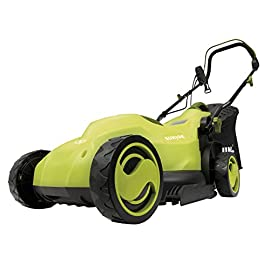 Sun Joe MJ400E 12-Amp 13-Inch Electric Lawn Mower w/ Grass Collection Bag 2 Powerful 12-amp motor cuts a crisp 13. 4 in. Wide path Removable, 9. 2-Gallon rear collection bag for convenient grass disposal + a grass indicator flap that shows when the bag is full Customize your cut with 3-position adjustable Height control: 0. 98 in. , 1. 77 in. , 2. 56 in.