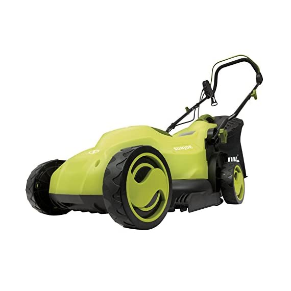 Sun Joe MJ400E 12-Amp 13-Inch Electric Lawn Mower w/ Grass Collection Bag 1 Powerful: 12-amp motor cuts a crisp 13.4 in. Wide path Adjustable deck: customize your cut with 3-position adjustable Height control: 0.98 in., 1.77 in., 2.56 in Lightweight: compact design is ideal for maneuvering around small lawns