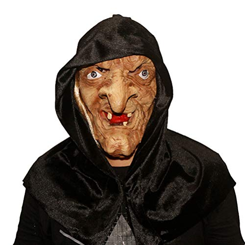 Creepy Scary Halloween Old Witch Mask Latex Snow White Witch with Hair & Hood (multcolor)]()