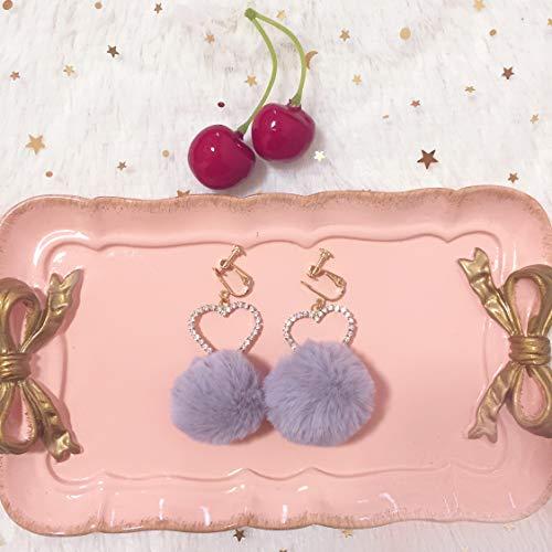 - Girls Fall Winter Rabbit Fur Ball Love Diamond Heart Earrings Earring Ear Dangler Clip (Gray Ear Hook
