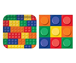 Building Blocks Party Pack - Dinner Plates and Napkins (16 Guests)