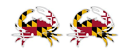 (2 to 6 Stickers) Maryland Crab Flag Sticker Decal Pegatinas Aufkleber/Plus Coconut Shell Keychain Ring/Car Truck Bumper Bike Notebook Skateboard USA US America (4 Stickers 5